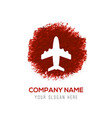 airplane icon - red watercolor circle splash vector image