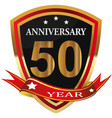anniversary 50 th label with ribbon vector image vector image