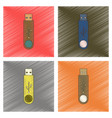 assembly flat shading style icon flash drive vector image vector image