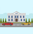 bank street view cars outdoors flat style vector image