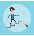 Businessman running upstairs vector image vector image