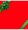 Card with red background and green ribbon vector image vector image