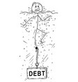 cartoon of man or businessman drowning with debt vector image