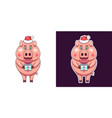 christmas and new year pig in flat style vector image