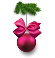 Christmas ball on fir twigs vector image vector image