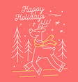 christmas greeting card with cute deer in knitted vector image