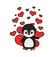 cute penguin hearts valentines day vector image vector image