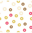 donuts with colored glaze on pattern background vector image