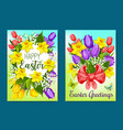 easter flowers greeting card with floral wreath vector image vector image