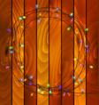 garland lights on wood background vector image vector image