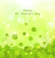 Glowing Background with Clovers for St Patrick vector image vector image