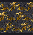gold and black swirl seamless pattern vector image