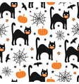 halloween black cat wearing face mask seamless vector image vector image