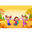 happy children jumping on autumn background vector image vector image