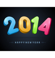 Happy New Year 2014 3d message vector image vector image
