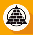 icon pyramid on white circle with a long shadow vector image vector image