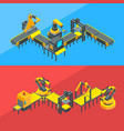 isometric conveyor elements concept vector image vector image