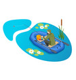 isometric fisherman with a fishing rod sits in an vector image