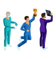 isometrics of medical workers 3d paramedic vector image vector image