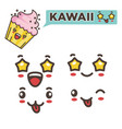 kawaii sticker strawberry cream cupcake with vector image vector image