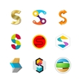 Letter S logo set Color icon templates design vector image vector image
