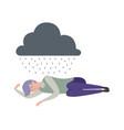 man sleep depression sad alone male under rainy vector image vector image
