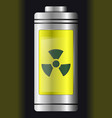 metal with glass battery yellow nuclear symbol vector image vector image