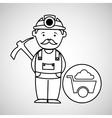 mine worker pickaxe with wheelbarrow vector image