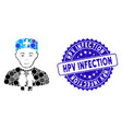 mosaic family doctor icon with textured hpv vector image vector image