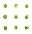 Natural environment icons set pop-art style vector image