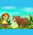 nature scene with a lion sitting on tree stump and vector image vector image