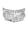 newspaper in hands sketch vector image