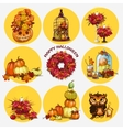Nine isolated objects autumn and festive mood vector image vector image