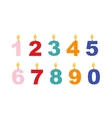 numbers candles set vector image vector image