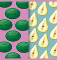 pattern of pears with watermelon fruits vector image