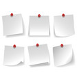 pinned empty white note paper curled corner red vector image