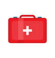 red first aid kit on white vector image vector image