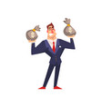 rich successful businessman character with money vector image vector image