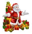 santa claus and christmas gifts vector image vector image