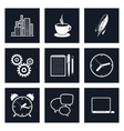 Set of Black Round Business Icons Team Work vector image vector image