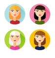 Set of flat style icons girls hair styles vector image vector image