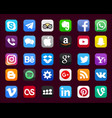 set of popular social media icons vector image