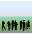 Silhouettes of people on the observation deck vector image vector image