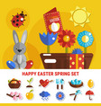 spring easter flat set vector image vector image