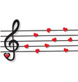 stave with heart notes and treble clef vector image