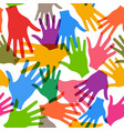 teamwork hands seamless pattern background vector image vector image