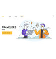 travelers portrait going on summer vacation trip vector image