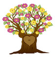 tree with heart and initials vector image