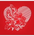 Valentine card with heart and blossom branch