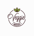 veggie menu logo round linear logo vegan meal vector image vector image
